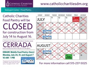 2017 Food Pantry Closure Sign Calendar
